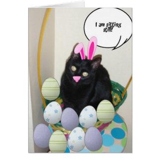 Gato negro de Pascua Tarjeta De Felicitación