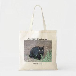Gato negro de pelo corto americano bolsa tela barata