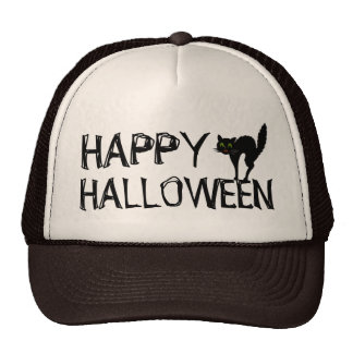 Gato negro de Scaredy del feliz Halloween Gorros Bordados