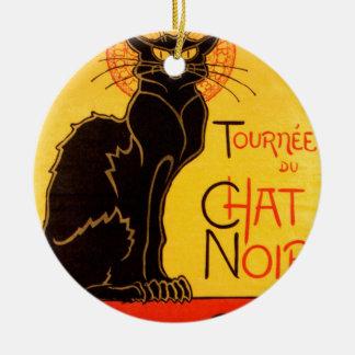 Gato negro de Vintage Tournee de Chat Noir Adorno Navideño Redondo De Cerámica