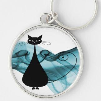 Gato negro de VoxKitty en la onda del azul Llaveros Personalizados