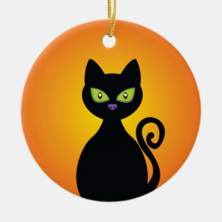 Gato negro adorno redondo de cerámica
