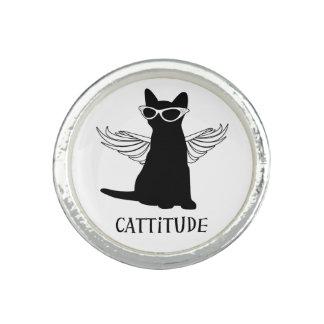Gato negro del anillo del amante del gato de Catti
