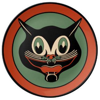 Gato negro del art déco de Halloween del vintage Plato De Cerámica