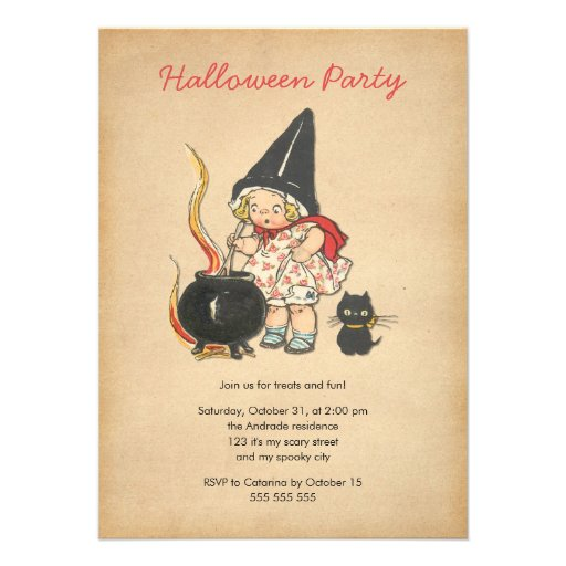Gato negro del Brew de la bruja linda del fiesta d Invitación Personalizada