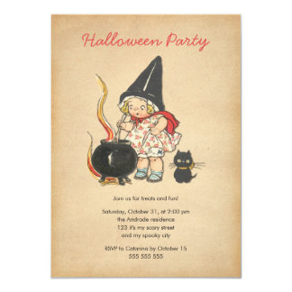 Gato negro del Brew de la bruja linda del fiesta Invitación 11,4 X 15,8 Cm
