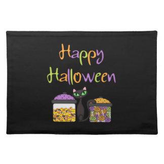 Gato negro del caramelo de Halloween Manteles Individuales