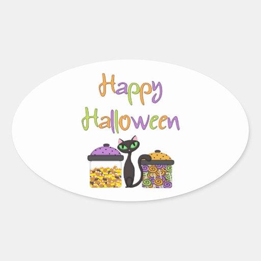 Gato negro del caramelo de Halloween Pegatinas Óval Personalizadas