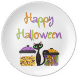 Gato negro del caramelo de Halloween Platos De Cerámica