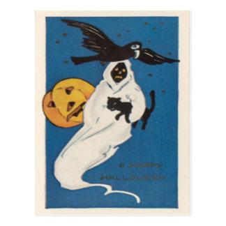 Gato negro del cuervo del fantasma de la linterna tarjeta postal