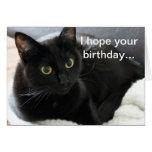 Gato negro del cumpleaños tarjeta