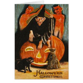 Gato negro del demonio del diablo de la linterna felicitaciones