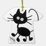 Gato negro del dibujo animado adorno de navidad
