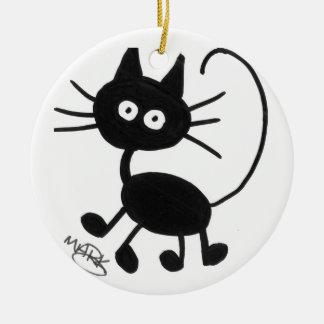 Gato negro del dibujo animado adorno navideño redondo de cerámica
