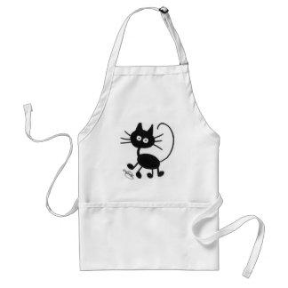 Gato negro del dibujo animado delantal