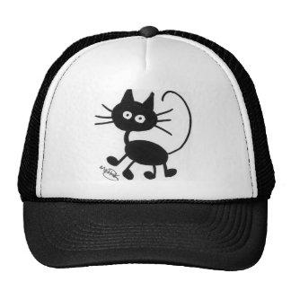 Gato negro del dibujo animado gorros bordados