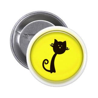 Gato negro del dibujo animado lindo pin
