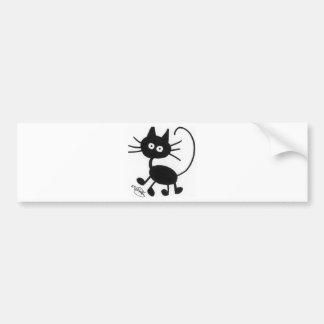 Gato negro del dibujo animado pegatina para auto
