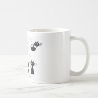 Gato negro del dibujo animado - porciones de maull tazas de café