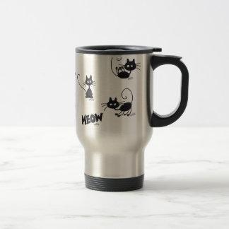 Gato negro del dibujo animado taza de viaje de acero inoxidable