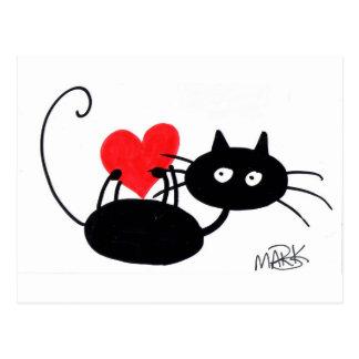 Gato negro del dibujo animado y corazón rojo tarjetas postales