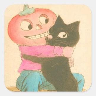 Gato negro del espantapájaros de la calabaza de la pegatina cuadrada