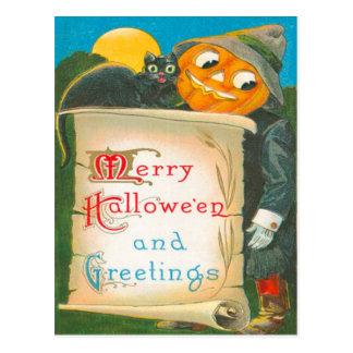Gato negro del espantapájaros de la linterna de tarjetas postales