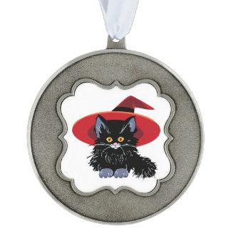 Gato negro del feliz Halloween Adorno Ondulado De Peltre