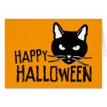 Gato negro del feliz Halloween Felicitación