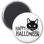 Gato negro del feliz Halloween Imanes De Nevera