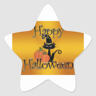 Gato negro del feliz Halloween Calcomanías Forma De Estrellaes