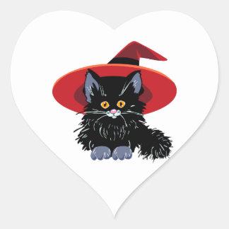 Gato negro del feliz Halloween Pegatina En Forma De Corazón