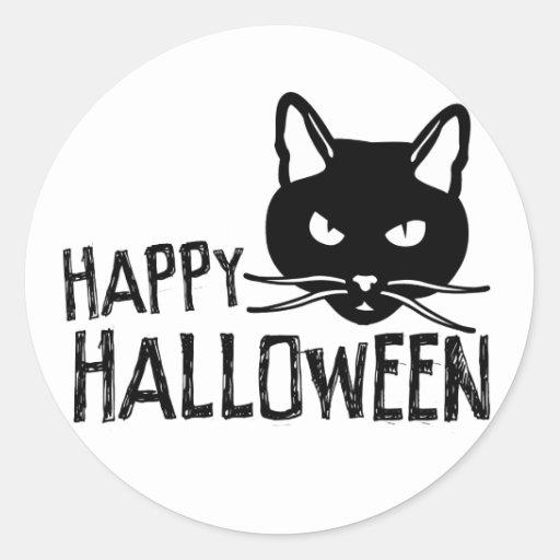 Gato negro del feliz Halloween Pegatina Redonda