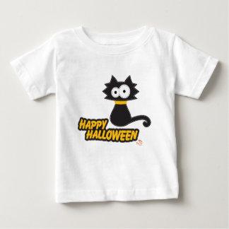 Gato negro del feliz Halloween Playera