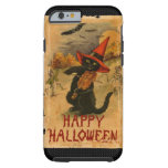 Gato negro del feliz Halloween que juega palos del Funda Para iPhone 6 Tough