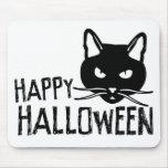 Gato negro del feliz Halloween Tapete De Ratones