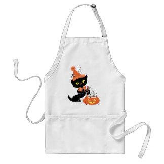 Gato negro del fiesta del vintage delantales