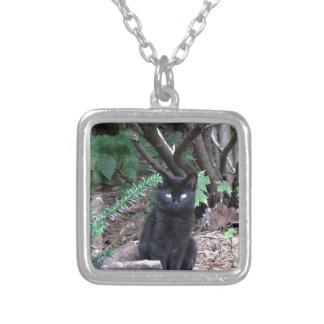 Gato negro del gatito colgante cuadrado