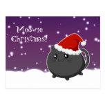 Gato negro del gatito del navidad de Kawaii Postal