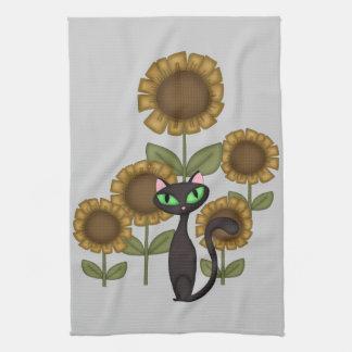 Gato negro del girasol toalla de cocina