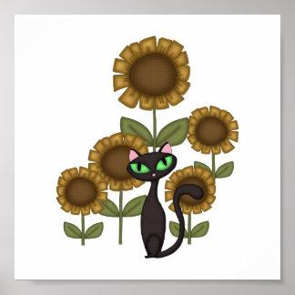 Gato negro del girasol póster