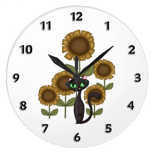 Gato negro del girasol reloj redondo grande