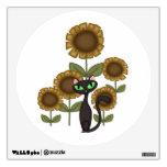 Gato negro del girasol vinilo adhesivo