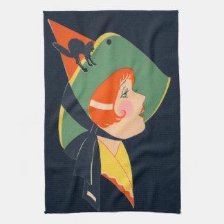 Gato negro del gorra de la bruja del art déco toallas de mano