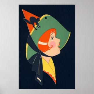 Gato negro del gorra de la bruja del art déco póster