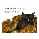 Gato negro del navidad postal
