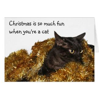 Gato negro del navidad tarjeta de felicitación