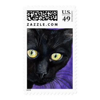Gato negro del peekaboo - franqueo medio timbres postales