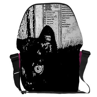 "Gato negro del prunella ""blanco y negro"" monocromá bolsa de mensajeria"