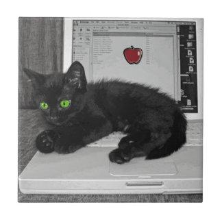 Gato negro del Prunella que gandulea en el ordenad Azulejo Cuadrado Pequeño